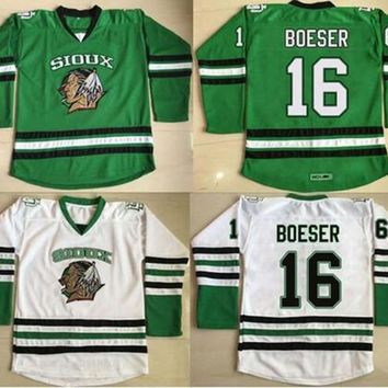 North Dakota Hockey Jersey 2 STECHER 9 CAGGIULA 16 Brock Boeser 33 Cam Johnson 100% Stitched Fighting Sioux DAKOTA Hockey Jerseys