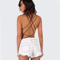 Black Strappy Cross Back Bodysuit