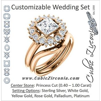 CZ Wedding Set, featuring The BettyJo engagement ring (Customizable Princess Cut featuring Cluster Accent Bouquet)
