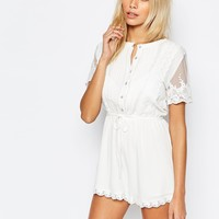 Fashion Union Pretty Playsuit with Scallop Lace at asos.com