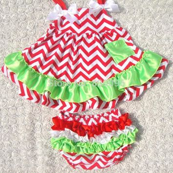 Hot sale Swing Outfit Swing Baby Girls Clothing Back Top And Ruffle Bloomer Set For Toddler Girl Retail KP-SW022