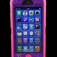 Custom Glitter Otterbox Defender Series Case for iPhone 5 Pink/Purple