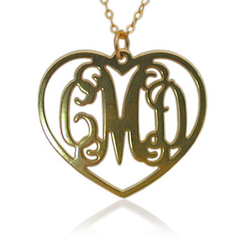 Monogram Necklace 1.25 Inch - 18k Yellow Gold Plated On Brass - Heart Shape
