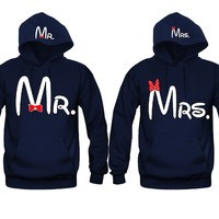 Mr. and Mrs. 2 Prints Unisex Couple Matching Hoodies