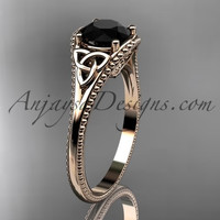 14kt rose gold celtic trinity knot wedding ring, engagement ring with a Black Diamond center stone CT7375