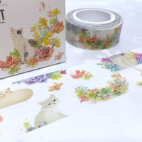 flower Cat washi masking tape 10M kawaii cat cartoon cat pussy cat masking tape cat planner sticker cat diary scrapbook meow meow gift decor