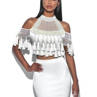 Mercy White Tassel Detail Stretch Crepe Two Piece Dress