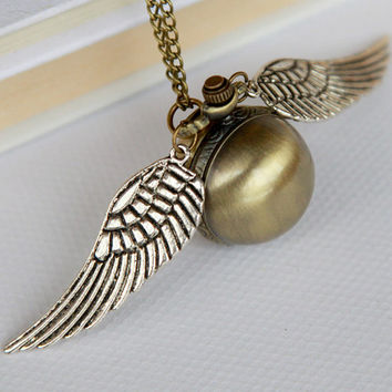 Golden Snitch Ball POCKET WATCH Necklace Locket with Wings
