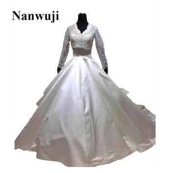 2017 New V -neck Long Sleeve Cathedral  Train Detachable Train Lace jacket Muslim Wedding Dress Bridal Gowns