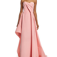 Rubin Singer Strapless Sweetheart-Neck Draped Gown, Pink