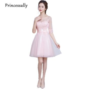 Pale Pink Lace Bridesmaid Dress Knee Length Sheer Neck vestido de festa de casamento Cheap Prom Dresses Under $50 Vestido Curto