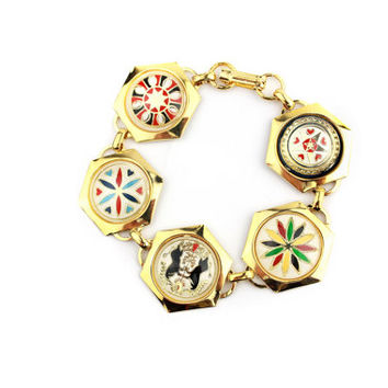 Hex Dutch Hand Painted Bracelet / Penna Dutch Folk Art Jewelry