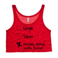 Mentally Dating Justin Bieber Cropped Tank Top