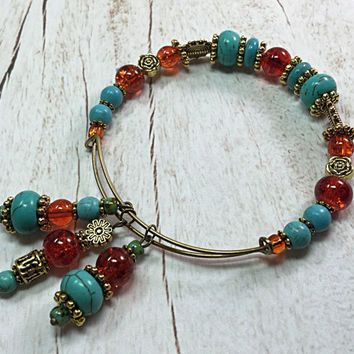Turquoise Expandable Bracelet - Turquoise & Orange Memory Wire Bangle - Adjustable Bracelet - Adjustable Bangle - Bronze Bracelet TDC533