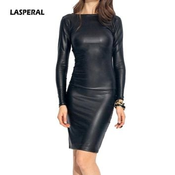 Faux Leather Sexy Body con Dresses Women Fashion Long Sleeve O Neck Sheath Party Dress Autumn Club Dress