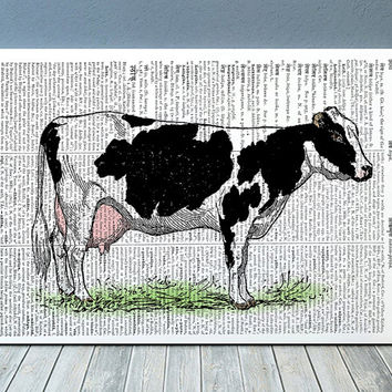 Farm animal poster Cow print Animal art Dictionary print RTA1034