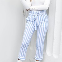 Only Now Blue High Waist Tie Pants