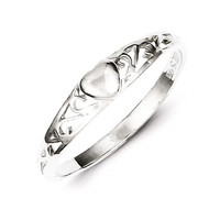 Dainty Sterling Silver Tiara Filigree Style Heart Ring