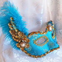 Blue Brocade Masquerade Mask with Ostrich Feather