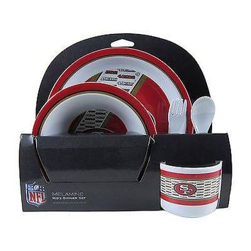 Licensed Official New NFL San Francisco 49ers Melamine Dinnerware Dinner Set 5pcs Plate Bowl Cup