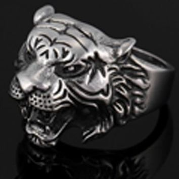 TIGER HEAD W STAR STAINLESS STEEL RING size 8 silver metal S-523 biker unisex