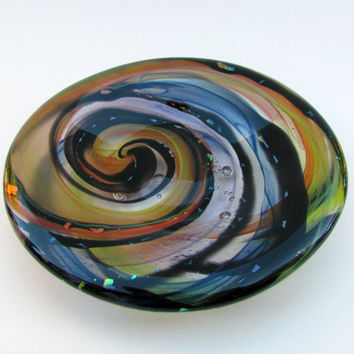 Small Round Glass Plate with Spiral Design, Fused Glass Trinket Dish,  Decorative Dish, Fused Glass Art, Colorful Dish
