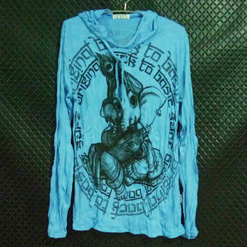 Hoodies for womens Size M/L one size Baby elephant Ganesha baby blue feather peacock artwork / wrinkle religion tee women men clothing