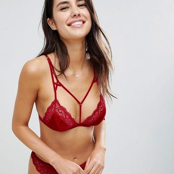 ASOS Crystal Red Velvet Triangle Bra Set in Red at asos.com