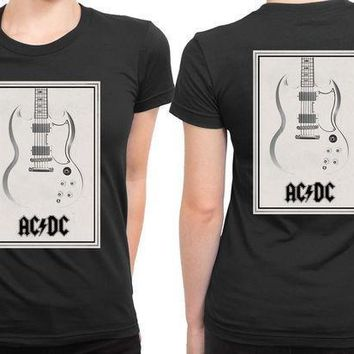 Acdc Guitar Invert 2 Sided Womens T Shirt
