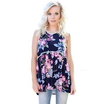 Dark Blue Pompom Lace Trim Flowy Tank Top