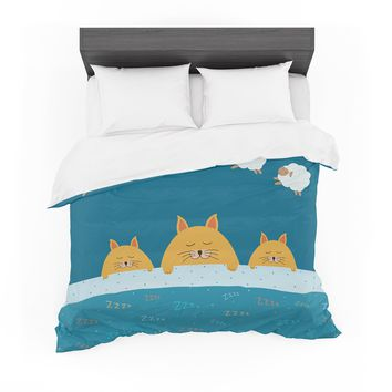"Cristina bianco Design ""Sleeping Cats Zzzz"" Teal Animals Featherweight Duvet Cover"