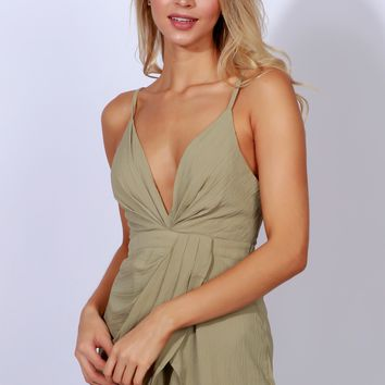 Label Me Wrap Romper Light Olive