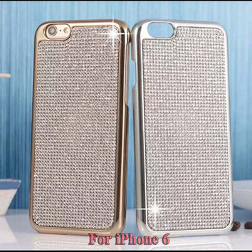 Luxury Women Girl Plated Metal Case For iPhone 6 4.7 Inch Bling Crystals Edge & Full Diamond Back Cover Shell