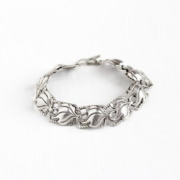 Vintage Sterling Silver Linked Panel Leaf Bracelet - Retro Mid Century 1960s Fire Flower Blossom Petals Floral Rope Embossed Beau Jewelry