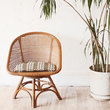 Mid Century Rattan Swivel Hoop Chair