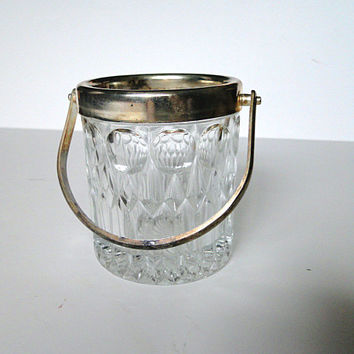 Small vintage cut crystal and silver ice bucket or sugar cube serving bucket.