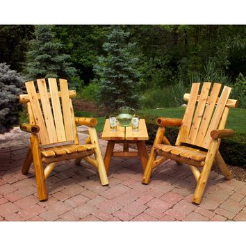 Moon Valley Rustic 2 Lawn Chairs & 28-inch End Table