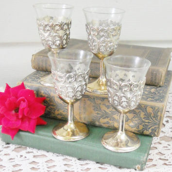 Vintage Silverplated Cordial Glasses, Set of 4, Baroque, French Rococo