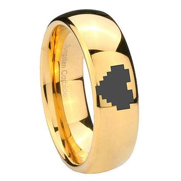 10MM Dome Zelda Heart 14K Gold IP Shiny Tungsten Carbide Men's Ring