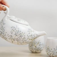 Hand Painted Ceramic Tea Set   Babys Breath Collection by yevgenia