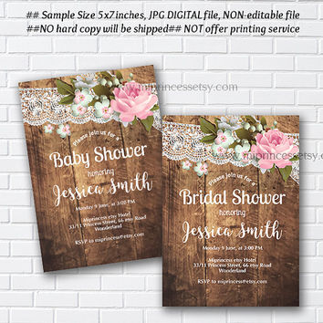 Rustic Baby Shower Invitation, Bridal shower, floral flower, shabby chic,pink rose flowers - card 1004