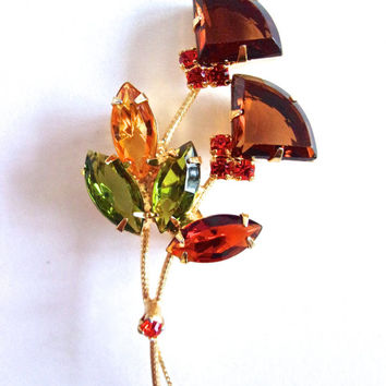 Flower Fan-Cut Rhinestone Brooch, Green Topaz Root Beer, Gold Tone, Vintage