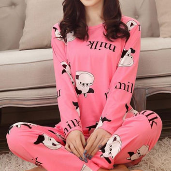 Spring Autumn 2016 Female Pajamas Animal Printing Indoor Clothing Home Suit Sleepwear Casual Loose Pajamas Nightgown for Women