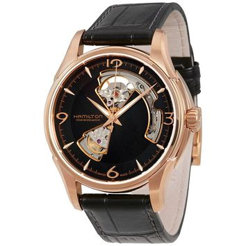 Hamilton Jazzmaster Open Heart Rose Gold Plated Case Automatic Mens Watch