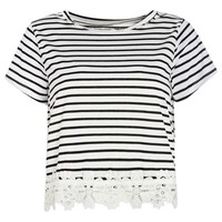 Selena Crochet Trim Stripe Tee