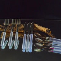 Frosted Handle Flatware Stanley Roberts City Lights Discontinued Pattern  9 pc  Vintage Stainless Cutlery Set