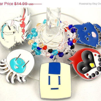 Dramatical Murder inspired geeky wine glass charms Set of 5 Anime charms handmade wine charms party wine charms