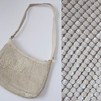 Large Cream White Mesh Handbag   Vintage 70s 60s Whiting Davis Style Purse   Classy Formal Glam 50s Pin Up Antique Leather Strap Crossbody