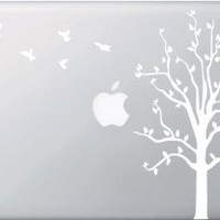 Apple Tree with Birds - WHITE - Macbook or Laptop Decal