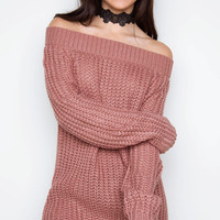 Looking Up Off The Shoulder Sweater - Dusty Mauve